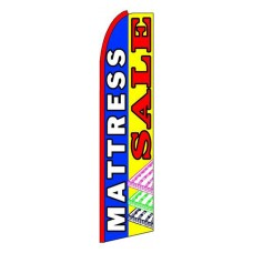 Mattress Sale Blue Yellow Extra Wide Swooper Flag