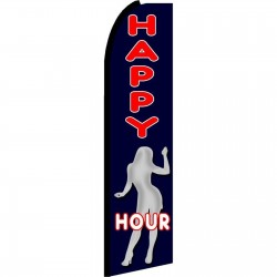 Happy Hour Black Extra Wide Swooper Flag