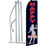 Happy Hour Black Extra Wide Swooper Flag Bundle