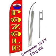 Pozole (Corn Soup) Extra Wide Swooper Flag Bundle