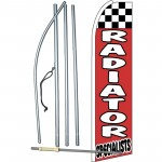 Radiator Specialists Red Checkered Extra Wide Swooper Flag Bundle