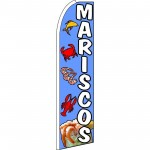 Mariscos(Seafood) Blue Extra Wide Swooper Flag