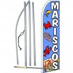 Mariscos (Seafood) Blue Extra Wide Swooper Flag Bundle