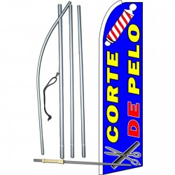 Corte De Pelo (Haircut) Extra Wide Swooper Flag Bundle