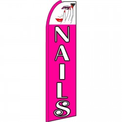 Nails Pink Extra Wide Swooper Flag