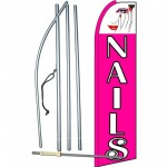 Nails Pink Extra Wide Swooper Flag Bundle