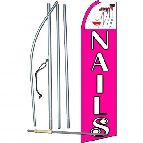 Nails Pink Extra Wide Swooper Flag Bundle