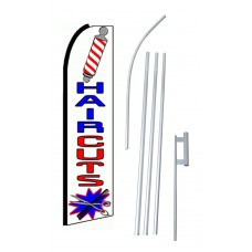 Hair Cuts Red White Blue Extra Wide Swooper Flag Bundle