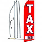 Tax Services Red White Extra Wide Swooper Flag Bundle