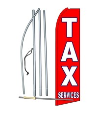 Tax Services Red Extra Wide Swooper Flag Bundle