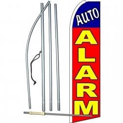 Auto Alarm Red Extra Wide Swooper Flag Bundle