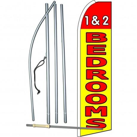 1 & 2 Bedrooms Yellow Extra Wide Swooper Flag Bundle