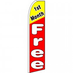 1st Month Free Red Extra Wide Swooper Flag