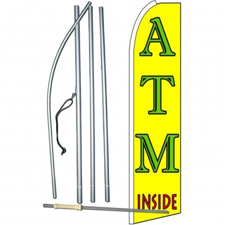 ATM Inside Yellow Extra Wide Swooper Flag Bundle
