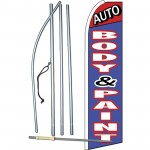 Auto Body & Paint Blue Extra Wide Swooper Flag Bundle