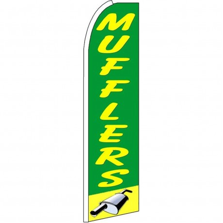 Mufflers Green Extra Wide Swooper Flag