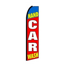 Hand Car Wash Red Blue Extra Wide Swooper Flag