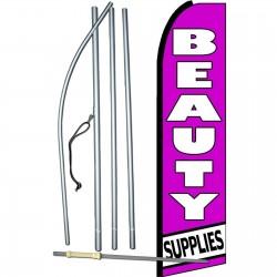 Beauty Supplies Purple Extra Wide Swooper Flag Bundle