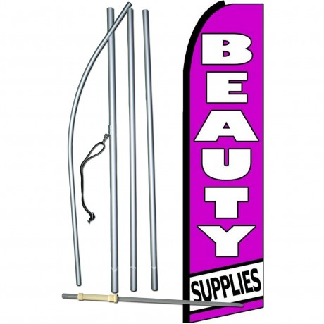 Beauty Supplies Purple Extra Wide Swooper Flag Bundle