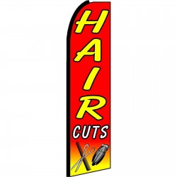 Hair Cuts Red Extra Wide Swooper Flag
