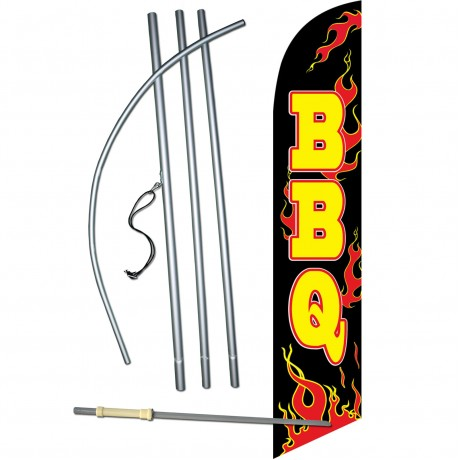 BBQ Black Flames Windless Swooper Flag Bundle