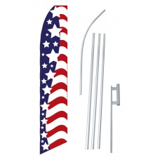 Red White Blue Stars & Stripes Swooper Flag Bundle