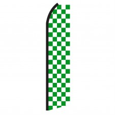 Checkered Green & White Swooper Flag