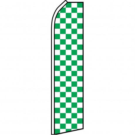Checkered Green & White Swooper Flag