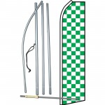 Checkered Green & White Swooper Flag Bundle