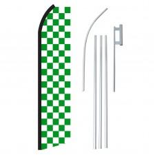 Checkered Green & White Swooper Flag Bundle