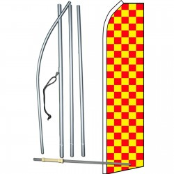 Checkered Red & Yellow Swooper Flag Bundle