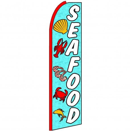 Seafood Blue Extra Wide Swooper Flag