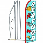 Seafood Blue Extra Wide Swooper Flag Bundle