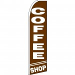 Coffee Shop Brown Extra Wide Swooper Flag
