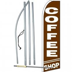 Coffee Shop Brown Extra Wide Swooper Flag Bundle