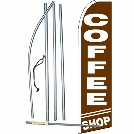 Coffee Shop Brown Extra Wide Swooper Flag Bundle