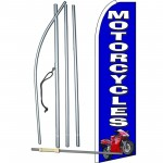 Motorcycles Blue Extra Wide Swooper Flag Bundle