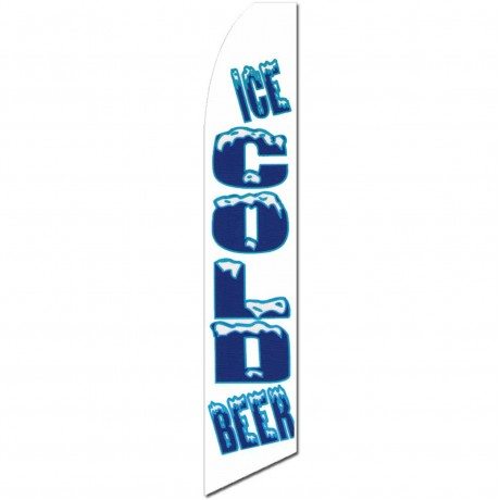 Ice Cold Beer White Extra Wide Swooper Flag