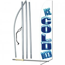 Ice Cold Beer White Extra Wide Swooper Flag Bundle