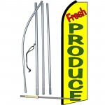 Fresh Produce Yellow Extra Wide Swooper Flag Bundle