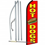 Hot Dogs Red Extra Wide Swooper Flag Bundle