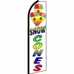 Snow Cones White Extra Wide Swooper Flag