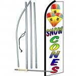Snow Cones White Extra Wide Swooper Flag Bundle