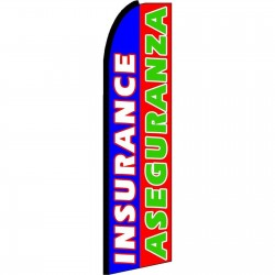 Insurance Aseguranza Blue Red Extra Wide Swooper Flag