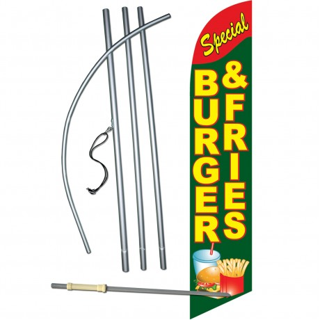 Burger & Fries Special Windless Swooper Flag Bundle