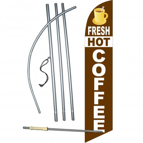 Fresh Hot Coffee Windless Swooper Flag Bundle