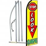 Stop Look Save Extra Wide Swooper Flag Bundle
