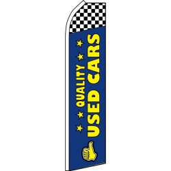 Quality Used Cars Blue Checkered Swooper Flag
