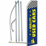 Quality Used Cars Blue Checkered Swooper Flag Bundle