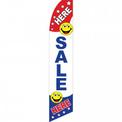 Sale Here Smiley Face Swooper Flag